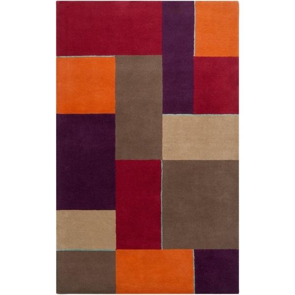 Hand-tufted Gray Diego Martin Geometric Pattern Wool Area Rug - 9' x 12'