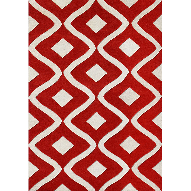 Handmade Sabrina Tomato New Zeeland Blend Wool Rug 5x8