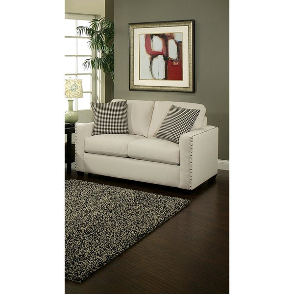 Furniture of America Neveah Ivory Contemporary Loveseat