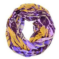 LA77 Women's Purple Animal Print Silk Scarf