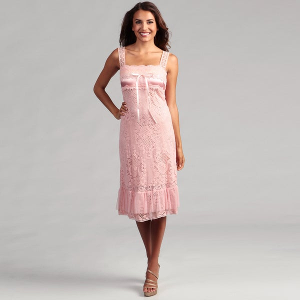Issue New York Women's Pink Allover Crochet Dress