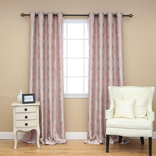 Aurora Home Laurel Damask Grommet 95 inch Curtain Pair
