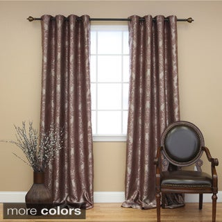 Aurora Home Traditional Damask Grommet 84 inch Curtain Pair