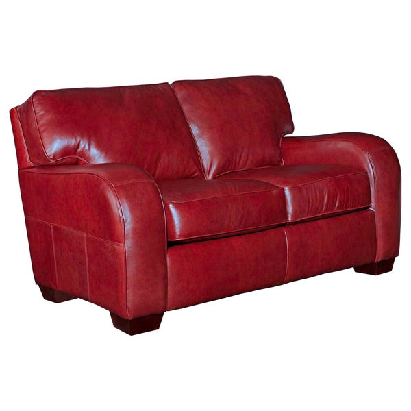 Broyhill Melanie Red Leather Loveseat Free Shipping