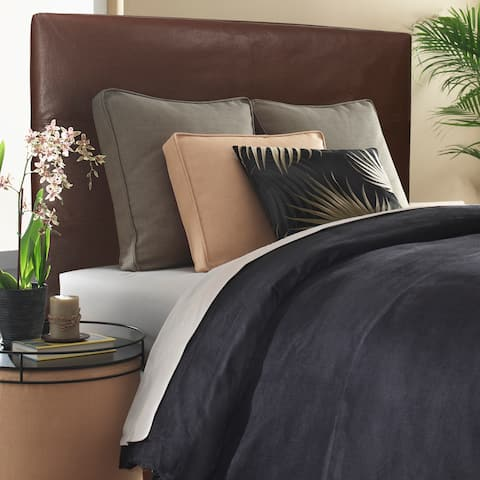 Slip-covered King-size Brown Faux Leather Headboard