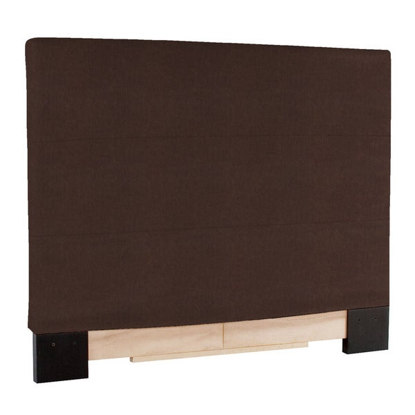 Slip Covered King Size Brown Faux Leather Headboard