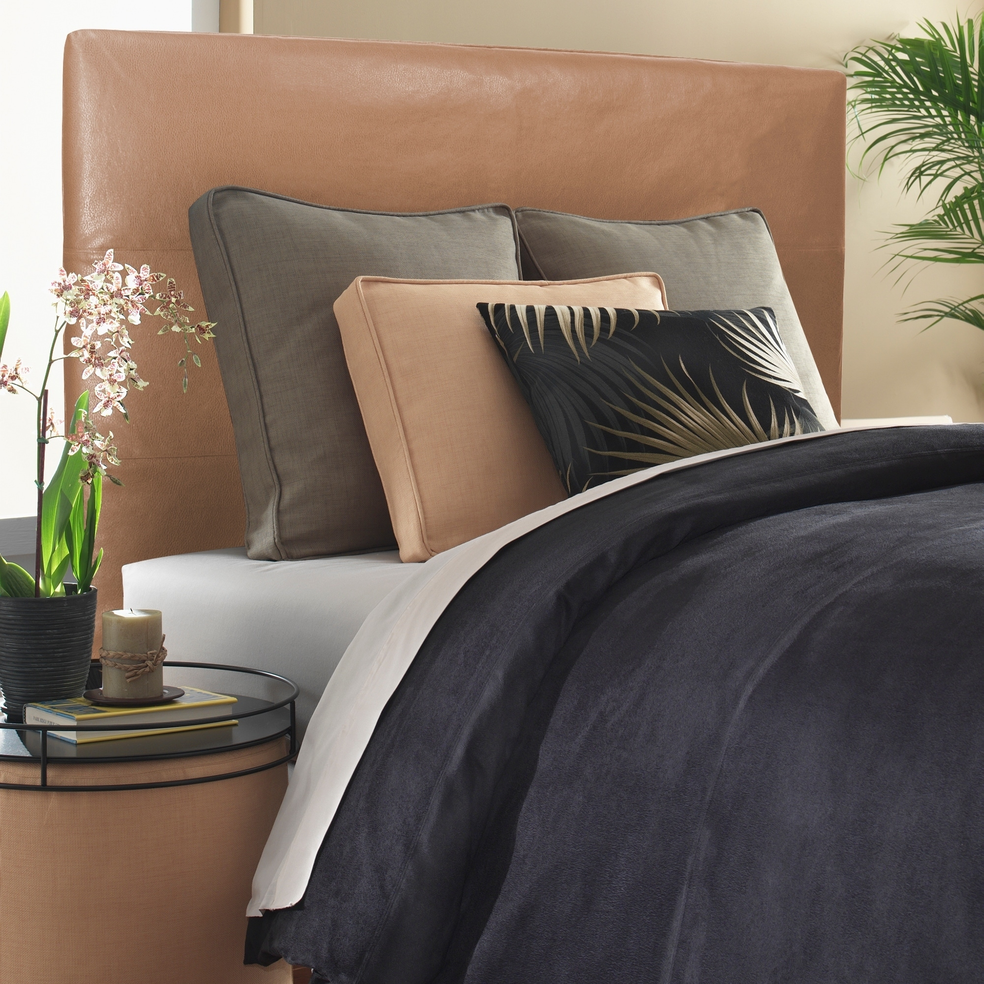 online store 2f211 08632 Slip-covered King-size Bronze Faux Leather Headboard