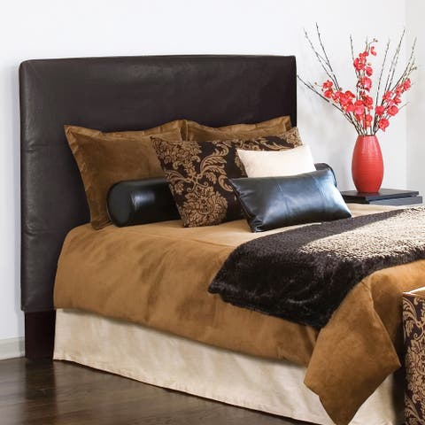 Slip-covered Full/ Queen Black Faux Leather Headboard