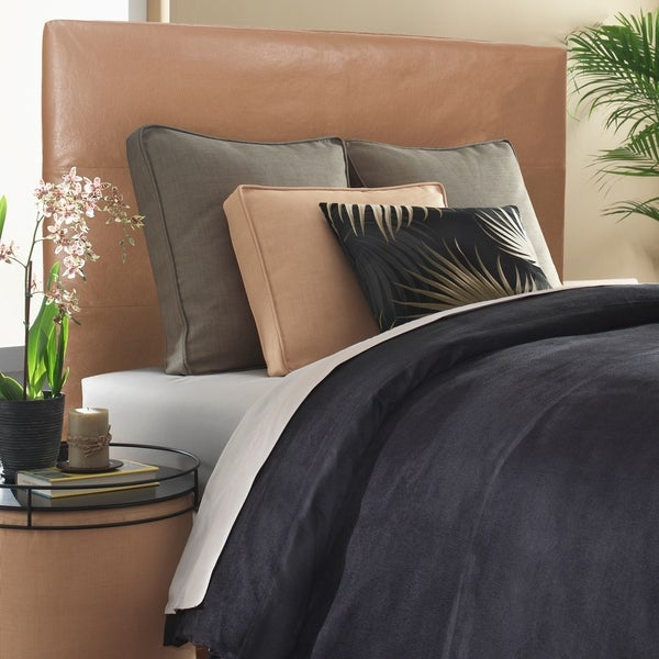Slip-covered Full/ Queen Bronze Faux Leather Headboard. Opens flyout.