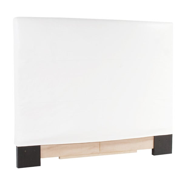 Slip-covered Full/ Queen White Faux Leather Headboard