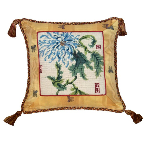 Chrysanthemum Needlepoint Tassel Decorative Pillow