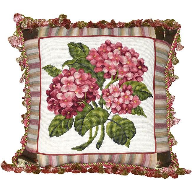 Hydrangea Needlepoint Decorative Pillow