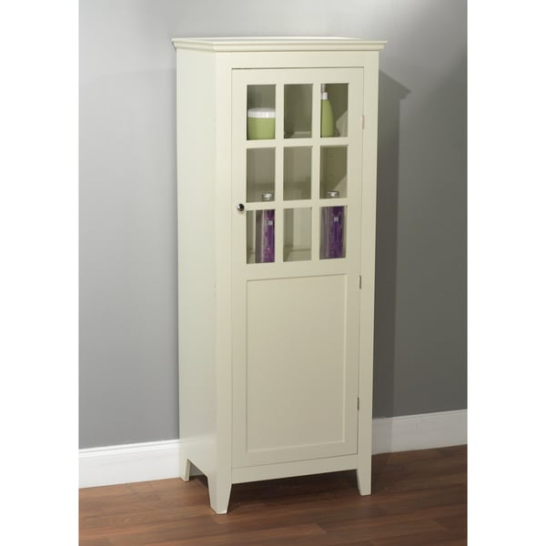 Simple Living Antique White Tall Bathroom Linen Cabinet