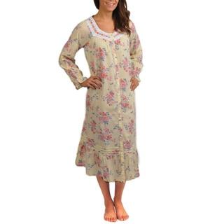 La Cera Women's Floral Print Cotton Long Sleeve Robe