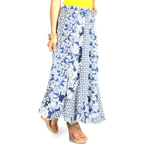 La Cera Women's Mix Print Stripwork Swirl Skirt