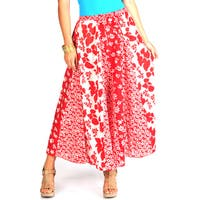 La Cera Women's Red/ White Multi Floral-print Stripwork Swirl Skirt