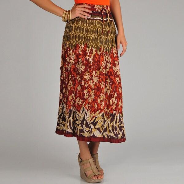 La Cera Women's Reversible Printed Broomstick Skirt