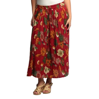 La Cera Women's Plus Size Reversible Printed Broomstick Skirt