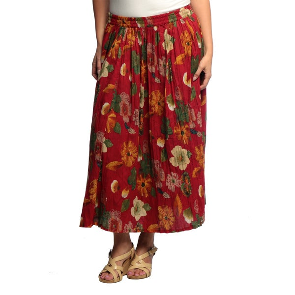La Cera Women's Plus Size Reversible Printed Broomstick Skirt