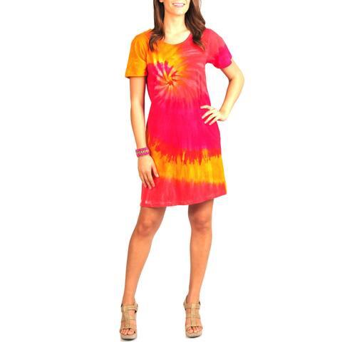 La Cera Women's Tie Dye Print Short Sleeve Dress