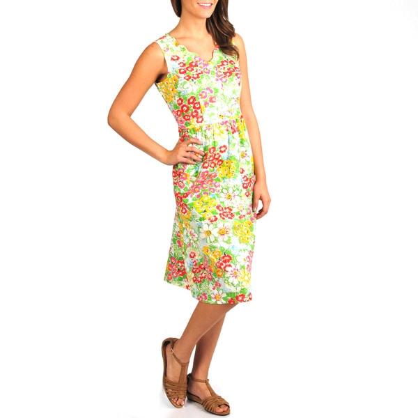 La Cera Women's Floral Print Scallop V-Neck Empire Waist Dress