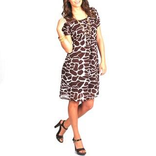 Link to La Cera Women's Giraffe Print Short Sleeve Dress Similar Items in Intimates