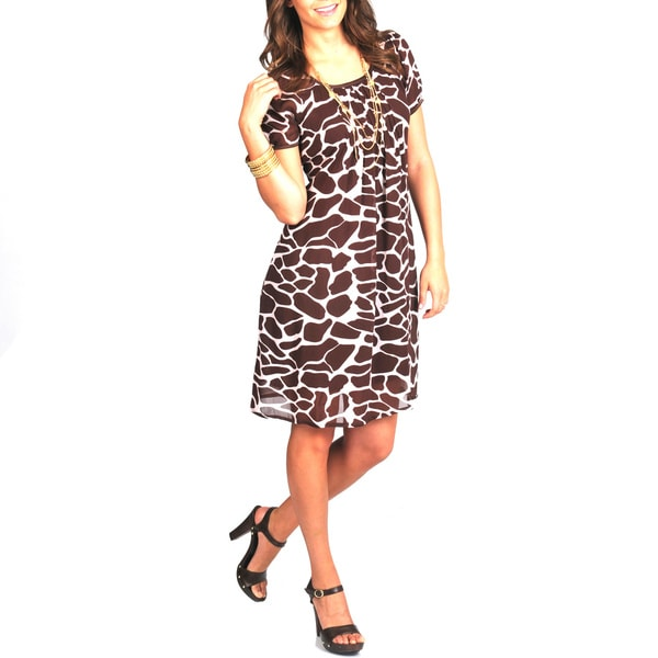 La Cera Women's Giraffe Print Short Sleeve Dress