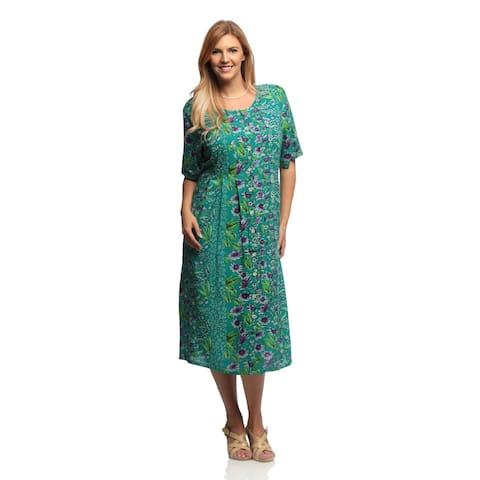 La Cera Women's Plus Size Floral Print Pleated Front Dress