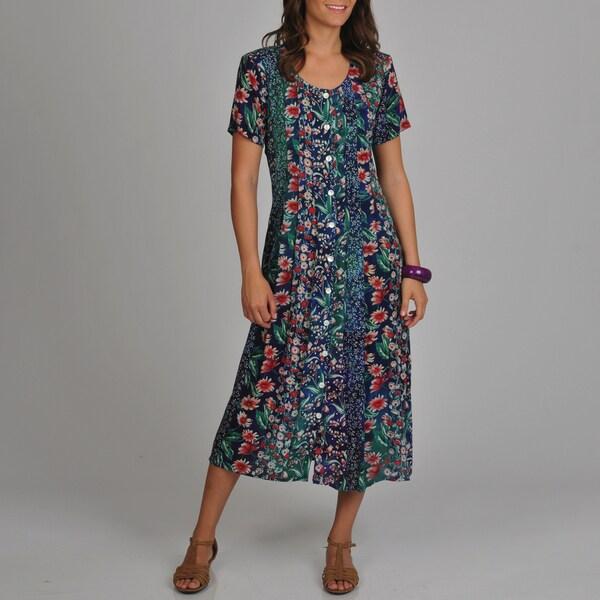 La Cera Women's Floral Print Pleated Front Dress - Blue