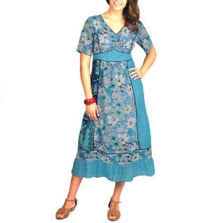 La Cera Women's Floral Print Short Sleeve Dress