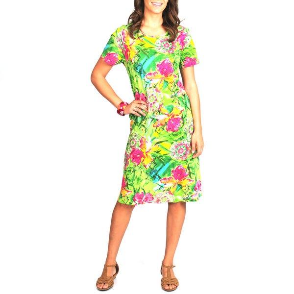 La Cera Women's Floral Print Cap Sleeve Dress