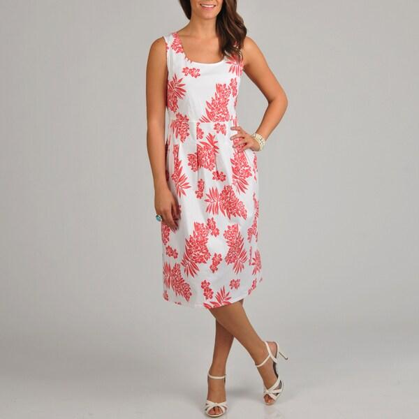 La Cera Women's Floral Print Pleated Tank Dress