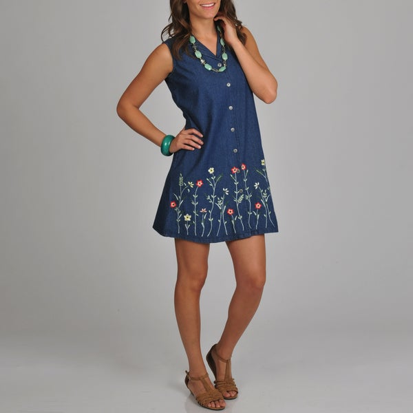 La Cera Women's Button Front Floral Embroidered Blue Dress