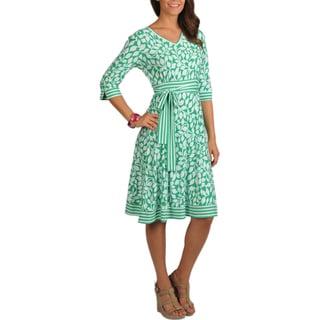 La Cera Women's 3/4 Sleeve V-neck Dress