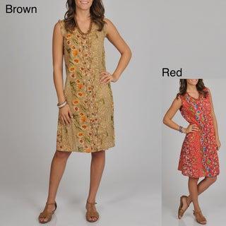 La Cera Women's Flora Print Button Front Sleeveless Mini-ruffles Dress