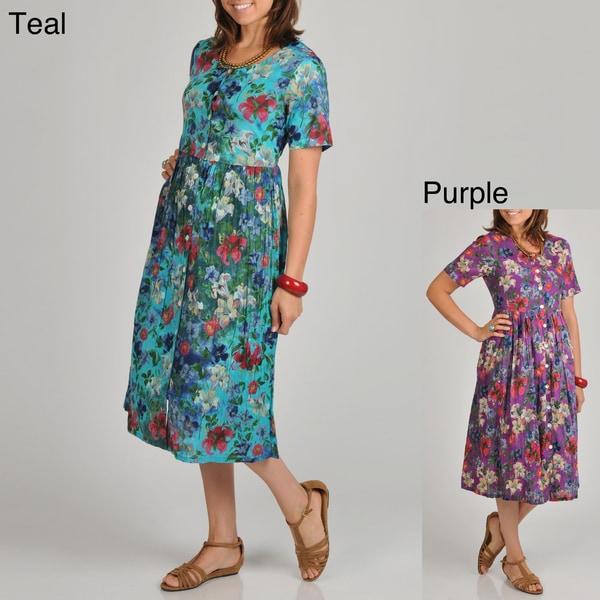 Shop La Cera Womens Plus Size Floral Print Button Front Dress