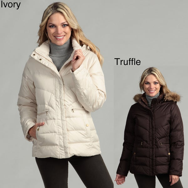 Larry Levine Women's Down Jacket With Removable Hood