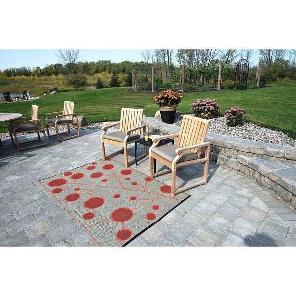 b.b.begonia Cotton Ball Reversible Orange/ Brown-Beige Outdoor Area Rug (4' x 6') - 4' x 6'