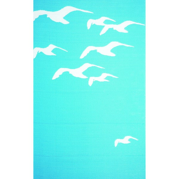 b.b.begonia Seagull Reversible Design Blue and White Outdoor Area Rug (4' x 6')