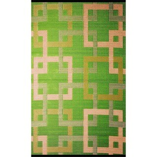 b.b.begonia Squares Reversible Design Green and Beige Outdoor Area Rug (4' x 6') - 4' x 6'