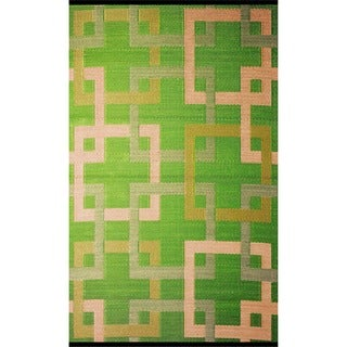 b.b.begonia Squares Reversible Design Green and Beige Outdoor Area Rug - 4' x 6'