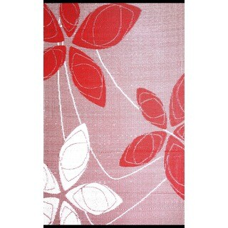 b.b.begonia Alaska Reversible Design Red and White Outdoor Area Rug - 4' x 6'