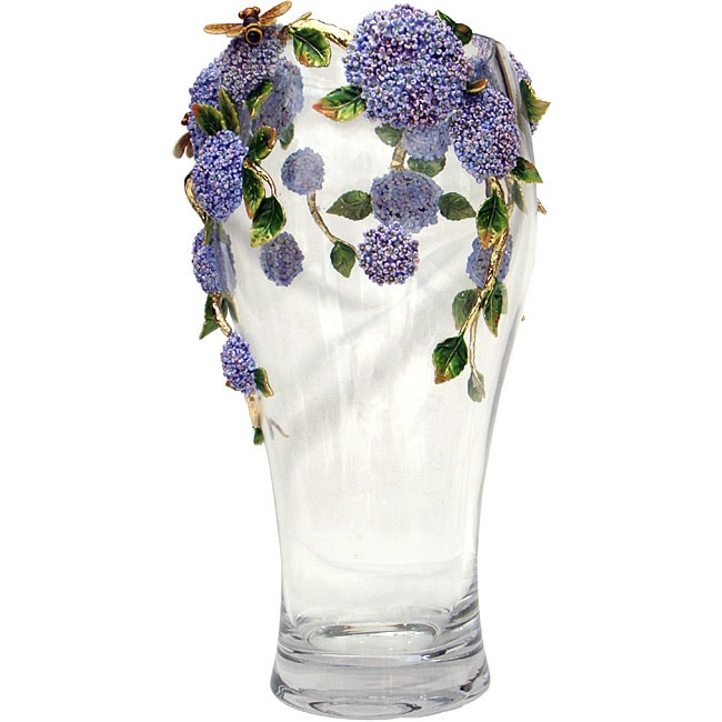 Cristiani Limited Edition Crystal Vase with Pewter Flowers - Thumbnail 0