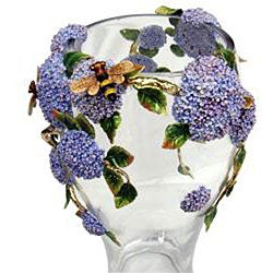 Cristiani Limited Edition Crystal Vase with Pewter Flowers - Thumbnail 1