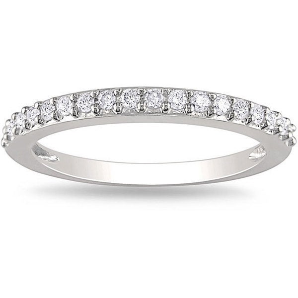 Miadora 14k White Gold 1/4 CT TDW Diamond Anniversary-style Stackable Wedding Band Ring (G-H, I2-I3)