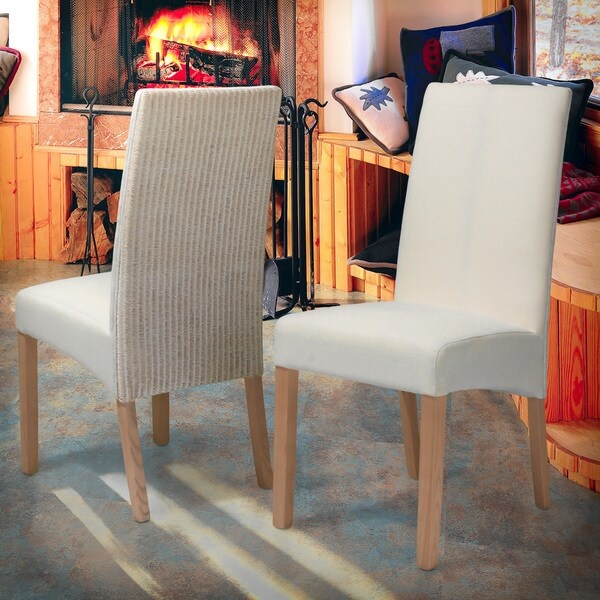Copeland White Rattan Dining Chairs (Set of 2) by Christopher Knight Home
