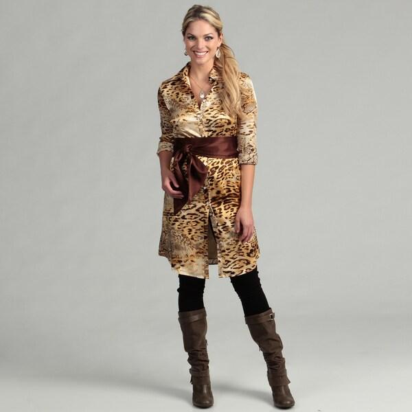 Issue New York Women's Animal Print Belted Shirt Dress