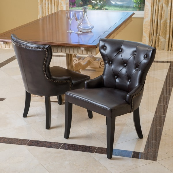 Kingdom Bonded Leather Accent Chairs (Set of 2) by Christopher Knight Home
