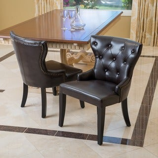 kingdom bonded leather accent chairs set of 2 by christopher knight home