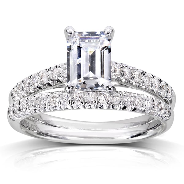 Annello 14k White Gold 1 1/3ct TDW Emerald Cut Diamond Solitaire Bridal Set (H-I, SI1-SI2)
